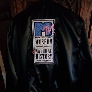 1980's Vintage MTV Black Satin Tour Jacket.
